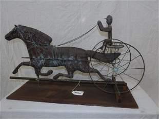 Horse and jockey copper weather vane