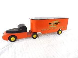 Nice original wooden Buddy L Van Lines tractor trailer