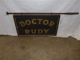 Doctor Rudy two-sided painted smaltz wooden sign