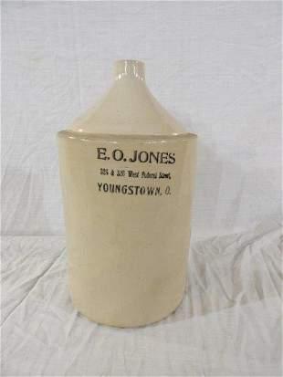 E. O. Jones 3 gallon stoneware advertiser jug