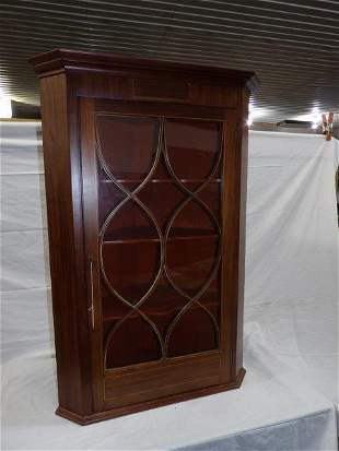 19th cent. Early American hanging corner cabinet
