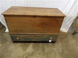 Early primitive blanket chest with drawer
