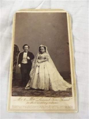 Autographed Mr & Mrs Tom Thumb wedding photo