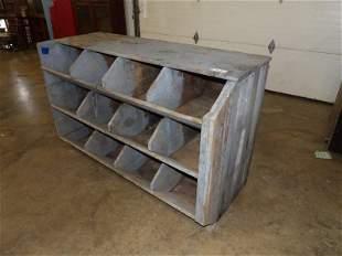 Primitive gray painted cubby storage bin