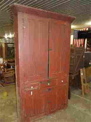 Outstanding red painted corner cupboard