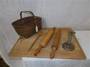 Early basket, bread board, rolling pins and misc.