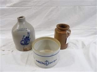 Three piece stoneware lot