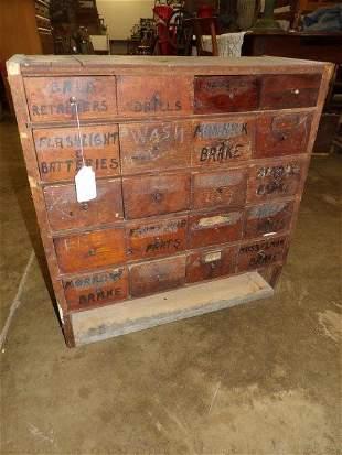 Primitive 20 drawer hardware cabinet