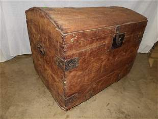 Early dovetailed Square nailed dome top trunk