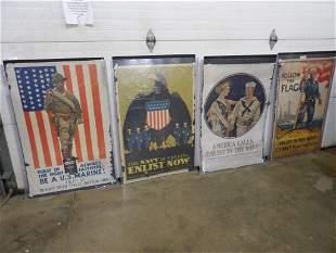 3- U.S. Navy & 1- U.S. Marine original paper posters