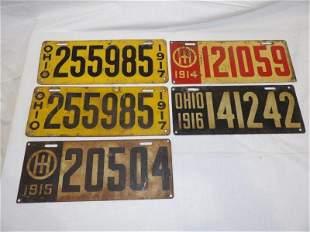 5- early Ohio heavy metal license plates