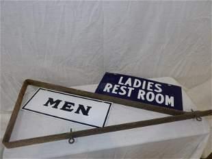 2-porcelain restroom signs & sign bracket
