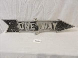 One Way cast aluminum arrow street sign