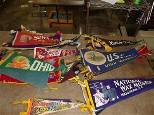 Lot of approximately 90+ cloth Pennants from the 30s 40