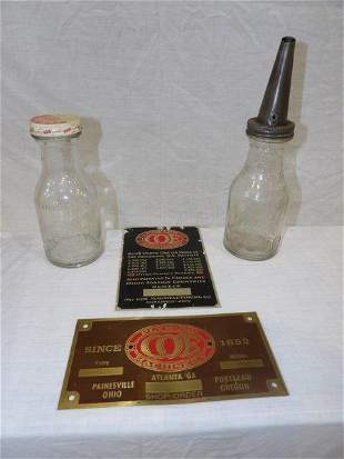 Huffman and Dover glass oil jars & 2- Coe Machinery bad