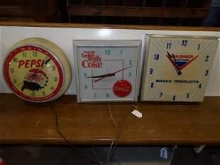 Lot of three advertising clocks