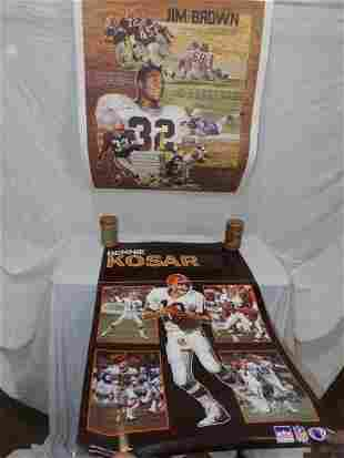 Autographed Jim Brown poster and Bernie Kosar poster
