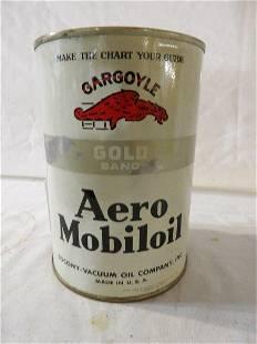 Gargoyle Mobiloil Aero Gold Band 1 quart can
