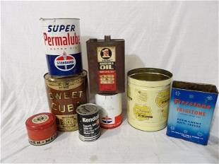 8 various oil cans and tins