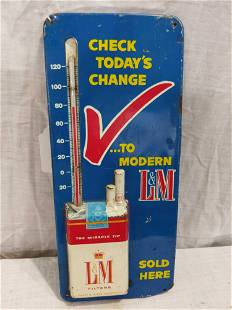 L&M Cigarettes metal embossed thermometer