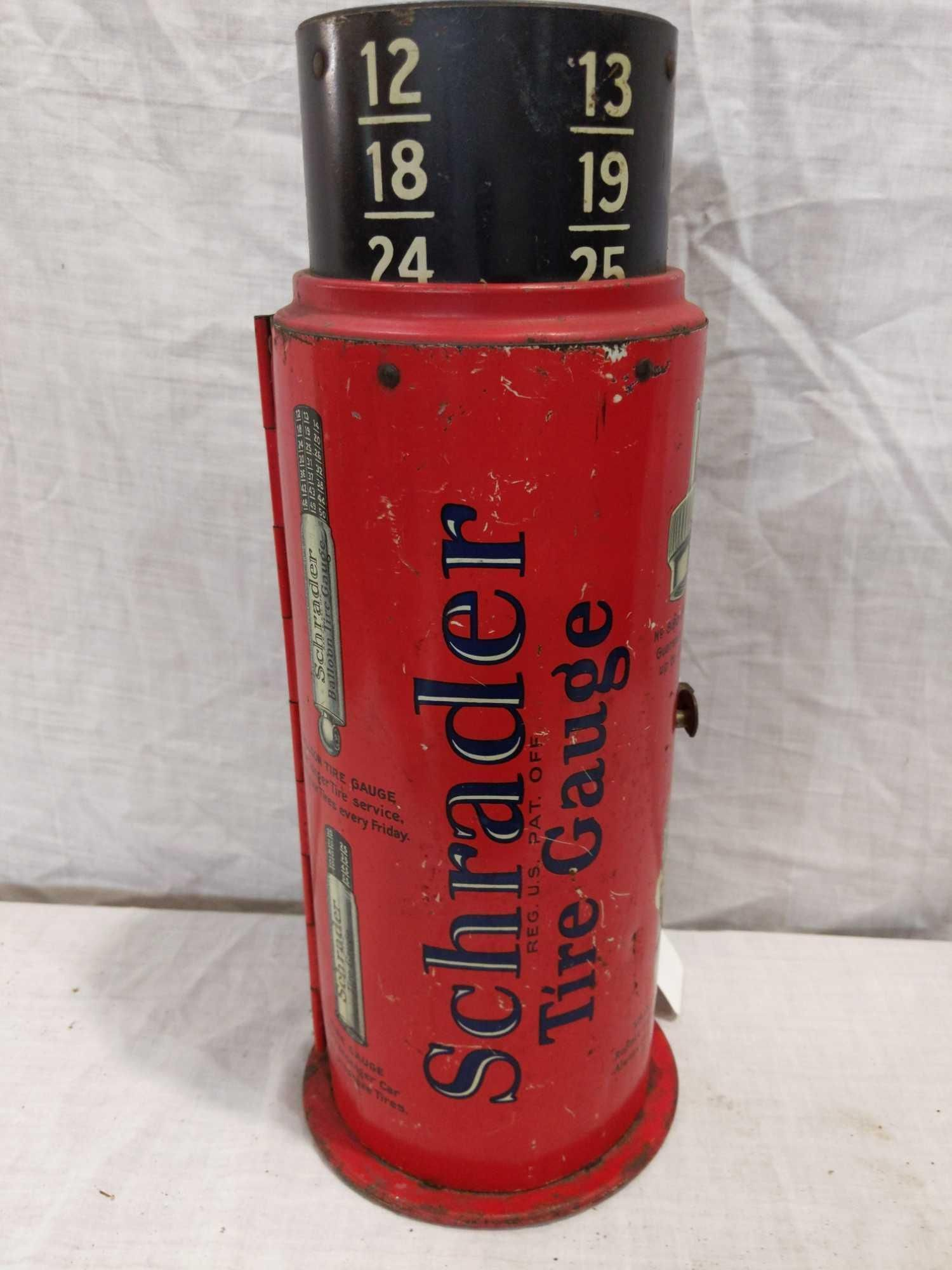 Great Schrader Tire Gauge metal display cabinet