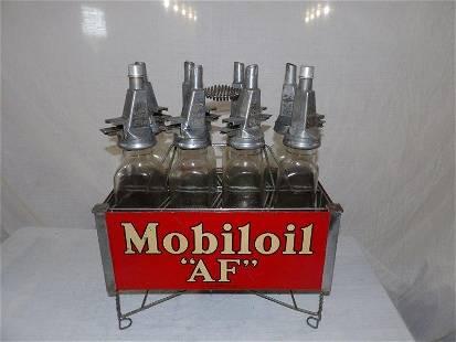 """8- Mobiloil """"AF"""" triangular oil bottles with display"""