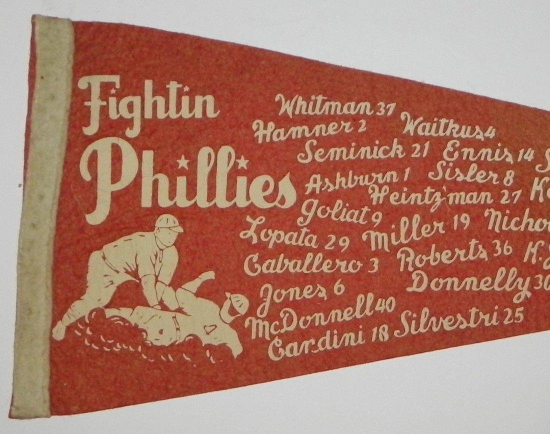 Beautiful 1950 Fightin Phila Phillies Roster Pennant - 2