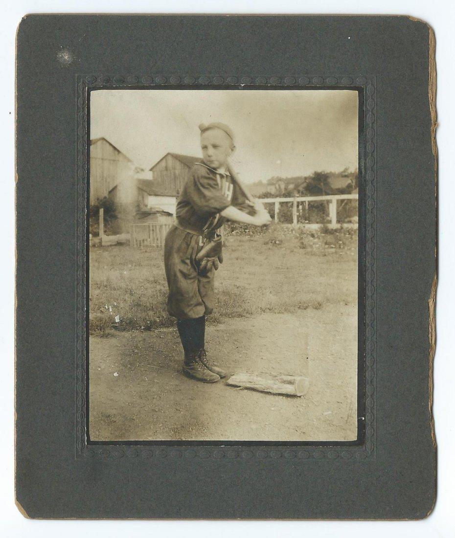 Circa 1900 Young Boy Baseball Player Cabinet Photo