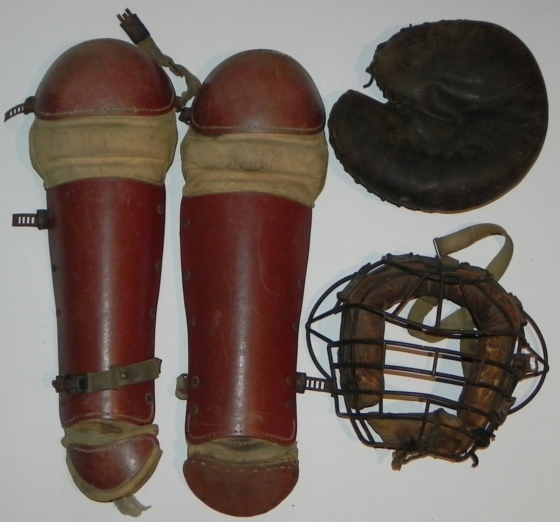 Vintage Group of 1930's Baseball Catcher's Equipment