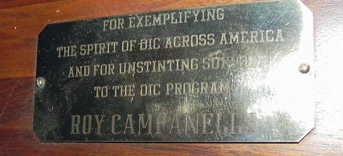 Roy Campanella Owned Award Plaque - Vintage Dodgers - 2