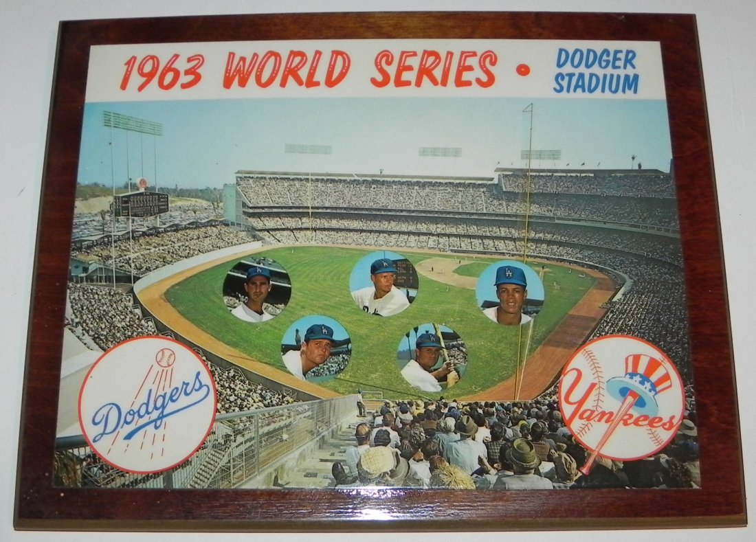 Rare 1963 LA Dodgers Baseball World Series Plaque