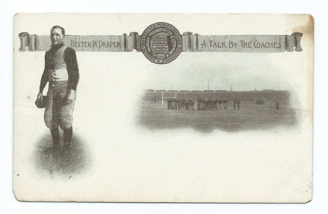 1906 Univ of Penn Football Player Post Card D Draper