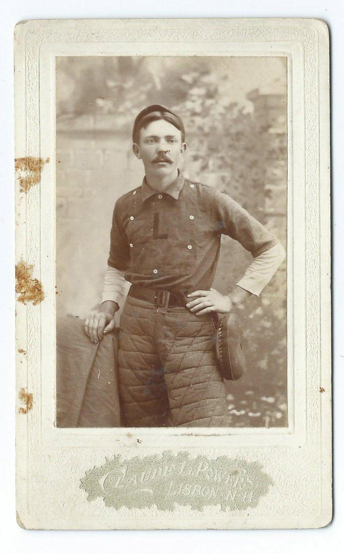 Antique 1890's Lisbon NH Baseball Player Cabinet Photo