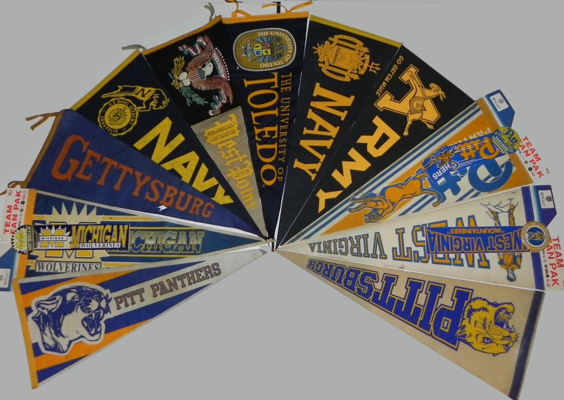 11 Vintage College Pennants Army Navy Pitt Michigan