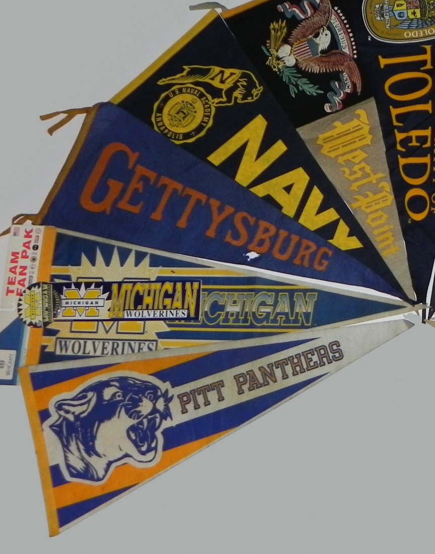 11 Vintage College Pennants Army Navy Pitt Michigan - 2