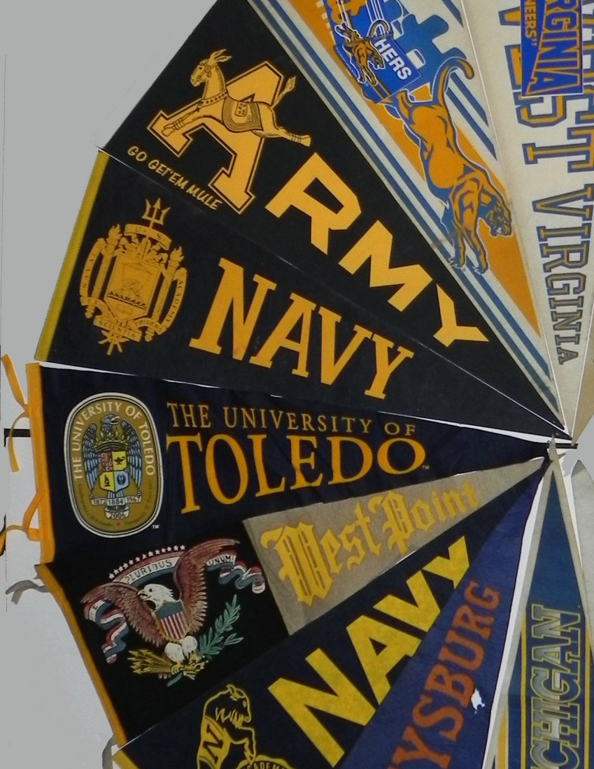 11 Vintage College Pennants Army Navy Pitt Michigan - 3