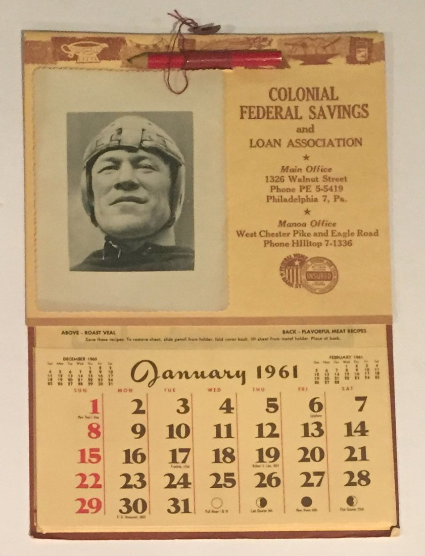 Vintage 1961 Jim Thorpe Football Themed Calendar