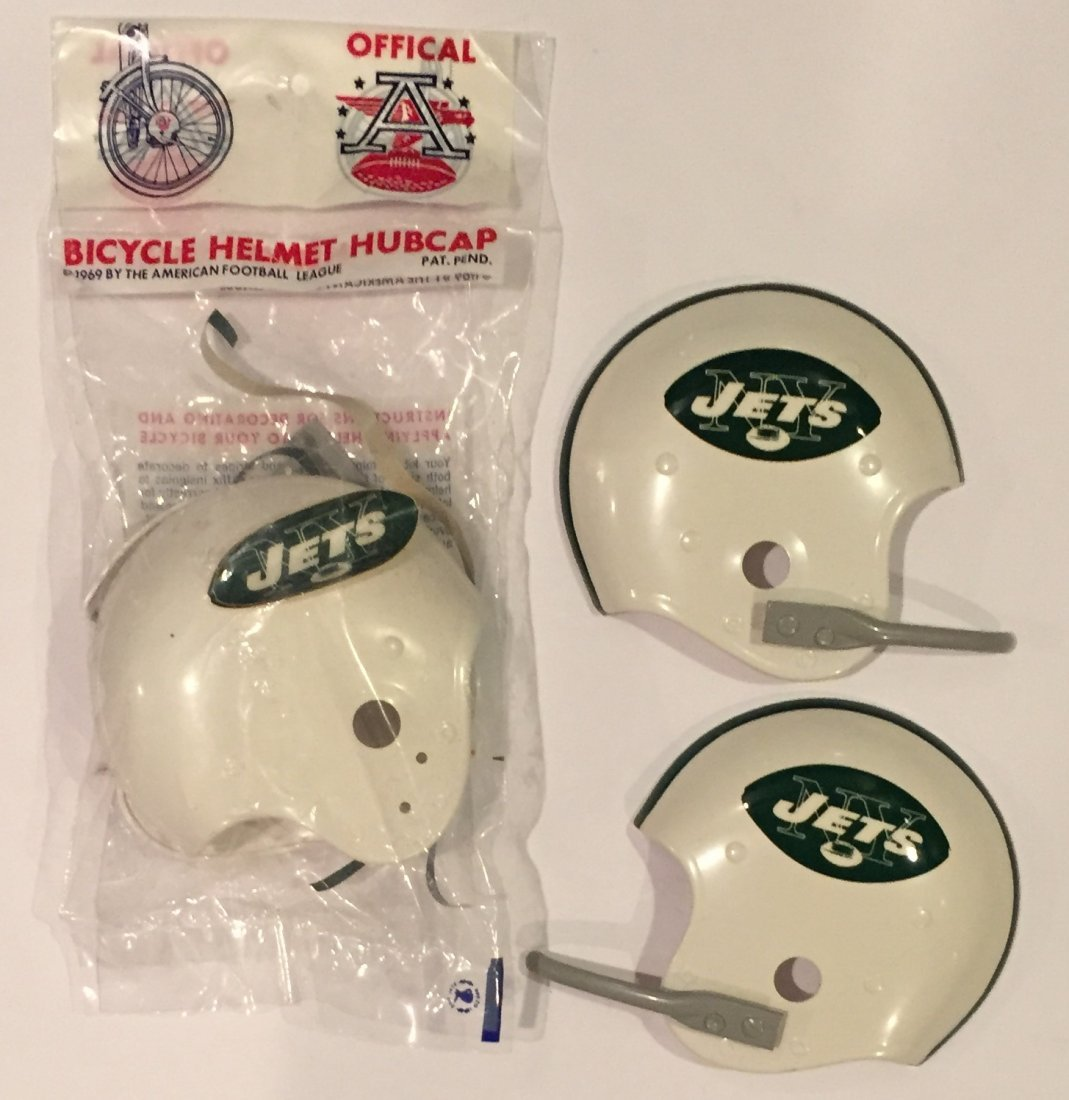 3 Mint 1969 NY Jets AFL Football Helmet Bike Hubcaps - 4