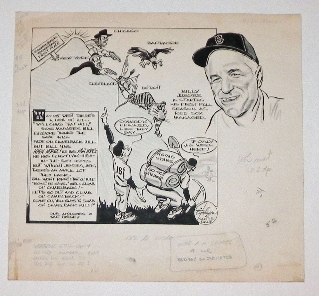1959 Boston Red Sox Bill Jurges Baseball Original Art