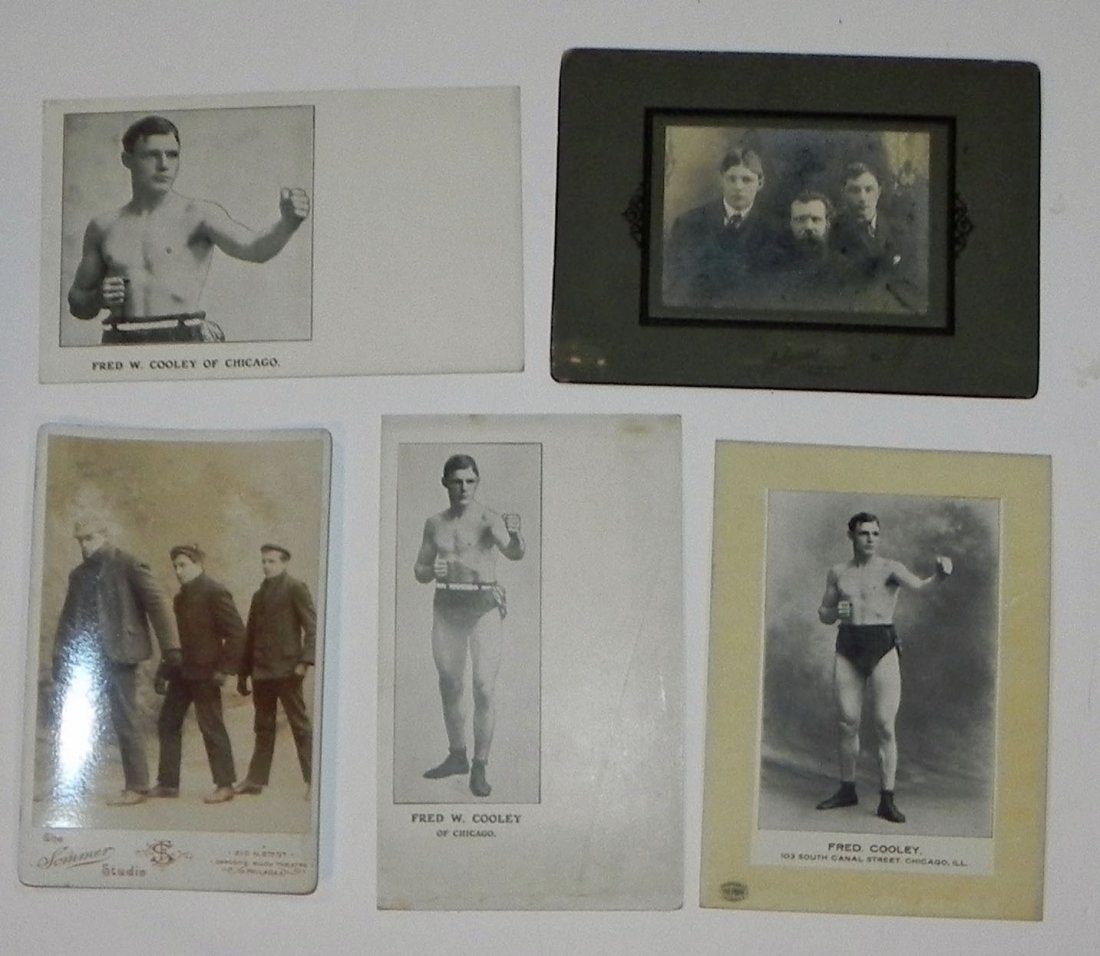 5 c. 1900 Boxer Fred Cooley Items Post Cards Cab Photos