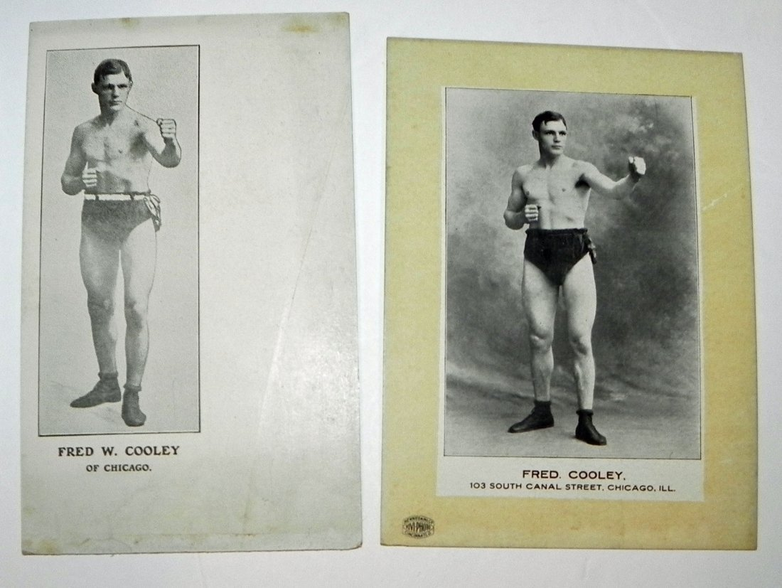 5 c. 1900 Boxer Fred Cooley Items Post Cards Cab Photos - 2