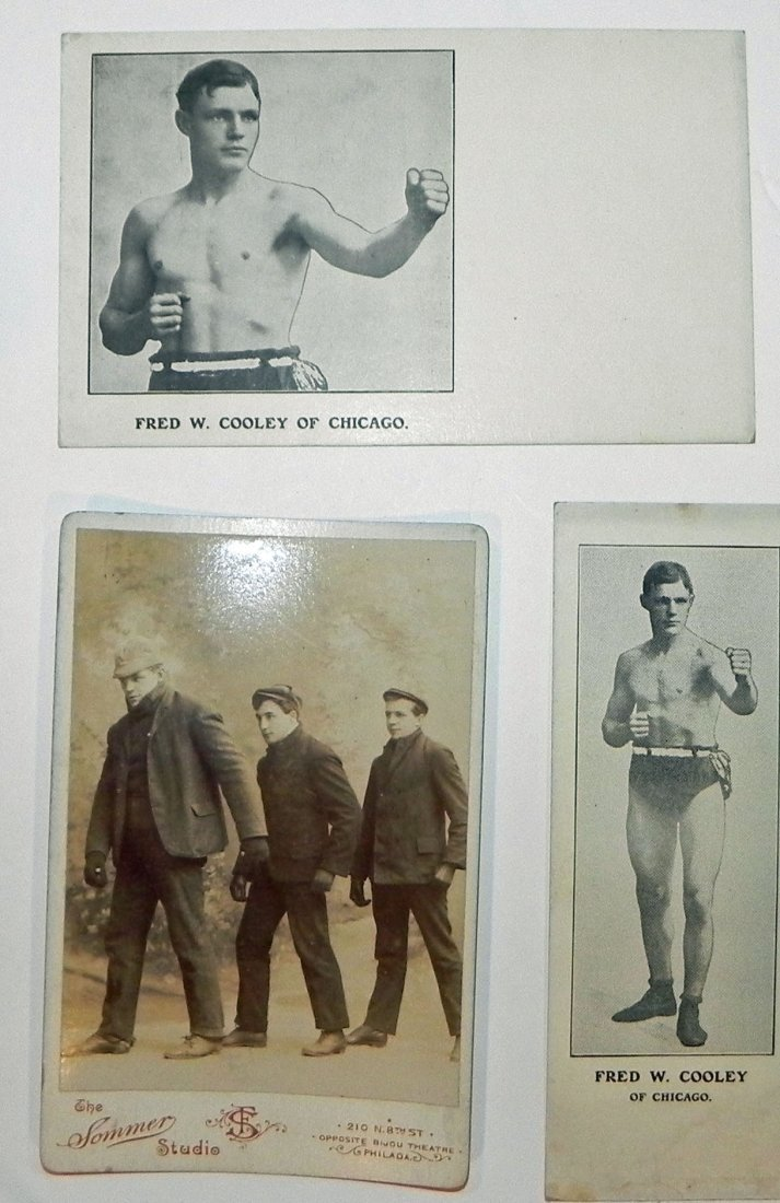 5 c. 1900 Boxer Fred Cooley Items Post Cards Cab Photos - 3