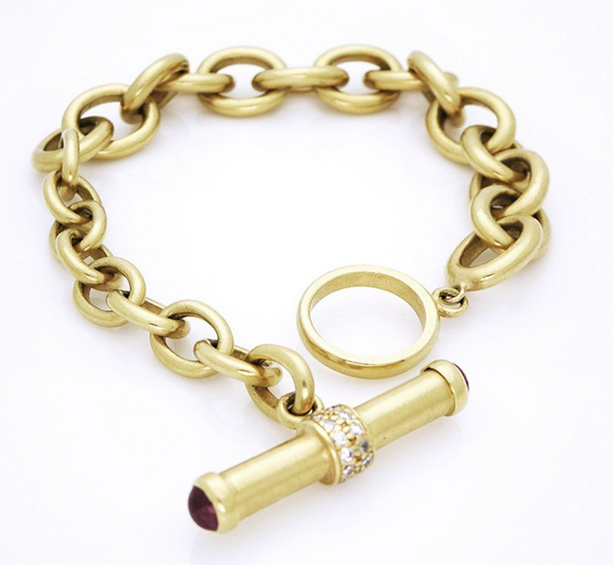 18K Yellow Gold, Diamond, & Ruby Bracelet