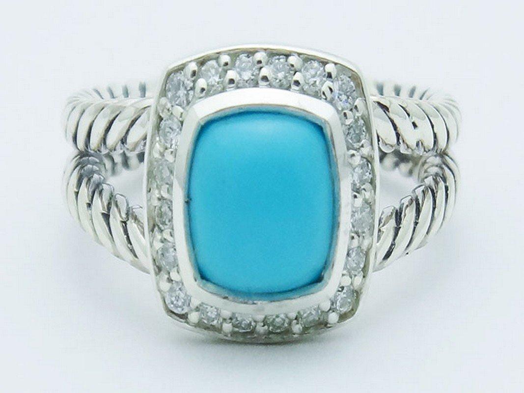 David Yurman Silver Petite Albion Ring  Turquoise Pave