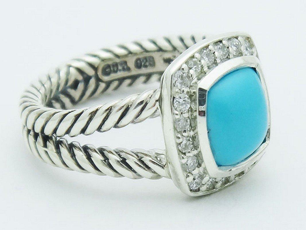 David Yurman Silver Petite Albion Ring  Turquoise Pave - 2