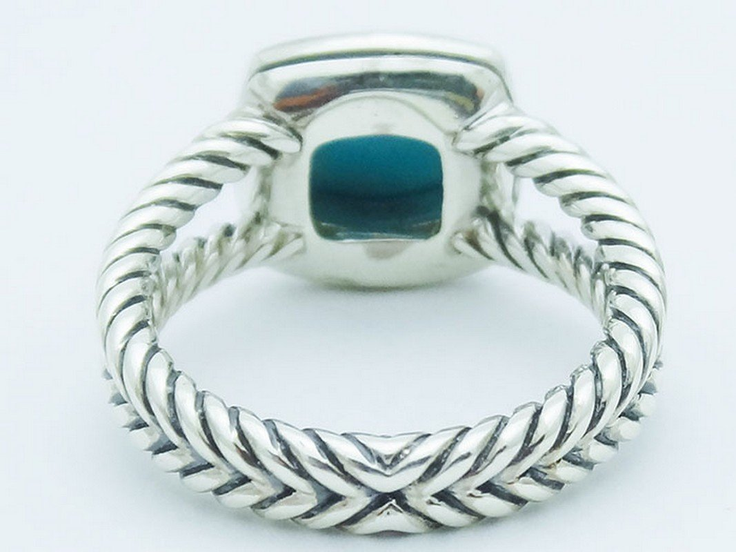 David Yurman Silver Petite Albion Ring  Turquoise Pave - 4