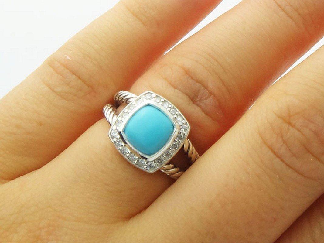 David Yurman Silver Petite Albion Ring  Turquoise Pave - 5