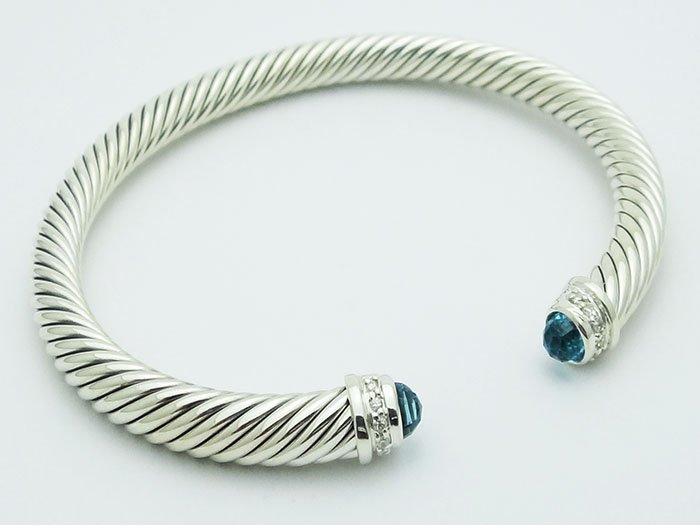 David Yurman 925 Silver Bracelet Blue Topaz & Diamond