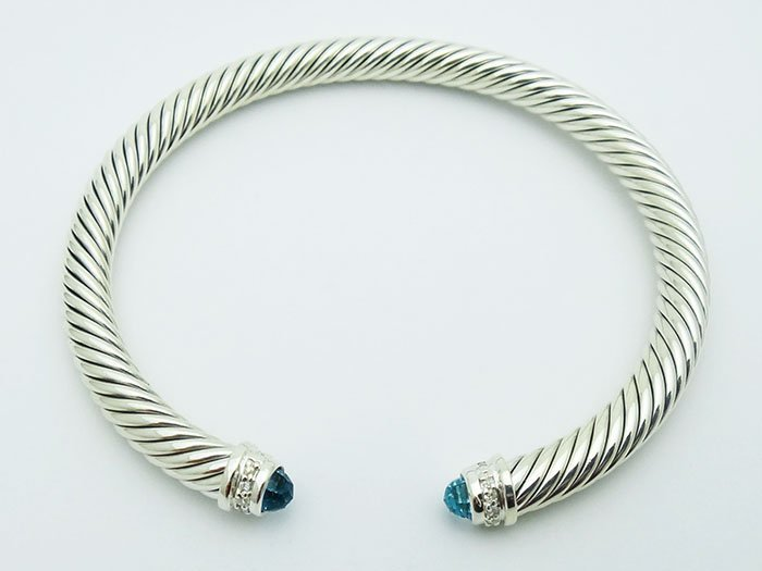 David Yurman 925 Silver Bracelet Blue Topaz & Diamond - 2