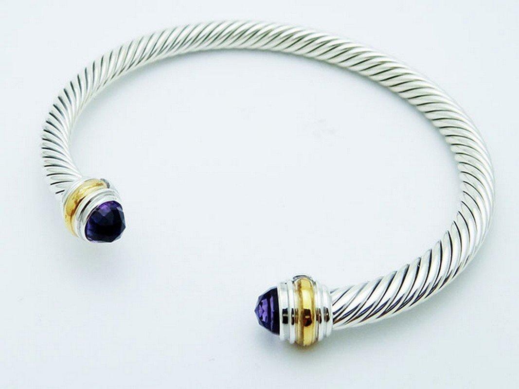 David Yurman 925 Sterling Cable Bracelet Amethyst 14K - 2
